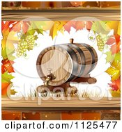 Clipart Of An Autumn Wine Barrel Leaf And Grapes Background 2 Royalty Free Vector Illustration by merlinul