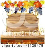 Clipart Of A Wooden Sign With Autumn Maple Leaves Grapes And Bricks Royalty Free Vector Illustration