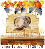 Clipart Of An Autumn Wine Barrel Leaf And Grapes Background 4 Royalty Free Vector Illustration by merlinul