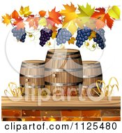 Clipart Of An Autumn Wine Barrel Leaf And Grapes Background 3 Royalty Free Vector Illustration