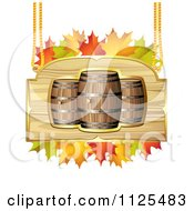 Clipart Of An Autumn Wine Barrel And Leaf Sign 3 Royalty Free Vector Illustration