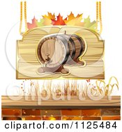 Clipart Of An Autumn Wine Barrel And Leaf Sign 2 Royalty Free Vector Illustration by merlinul