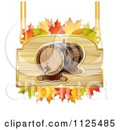 Clipart Of An Autumn Wine Barrel And Leaf Sign 1 Royalty Free Vector Illustration