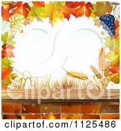 Clipart Of A Background Of Autumn Leaves Grapes Bricks And Wheat 1 Royalty Free Vector Illustration by merlinul