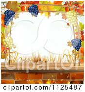 Clipart Of A Background Of Autumn Leaves Grapes Bricks Royalty Free Vector Illustration by merlinul