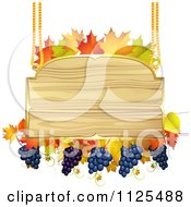 Clipart Of A Wooden Sign With Grapes Autumn Maple Leaves Royalty Free Vector Illustration by merlinul