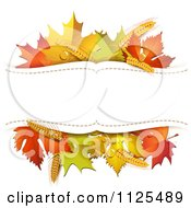 Background With Autumn Maple Leaves Wheat And Copyspace