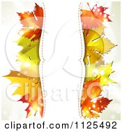 Clipart Of A Background With Autumn Maple Leaves Dew And Vertical Copyspace On White Royalty Free Vector Illustration by merlinul