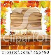Clipart Of Autumn Maple Leaves A Butterfly Bricks And Wood Sign Royalty Free Vector Illustration by merlinul