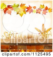 Clipart Of A Background Of Wheat Autumn Leaves And Bricks Royalty Free Vector Illustration by merlinul