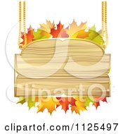 Clipart Of A Wooden Sign With Autumn Maple Leaves Royalty Free Vector Illustration