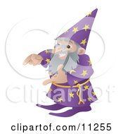 Old Male Wizard Gesturing With His Hands Clipart Illustration