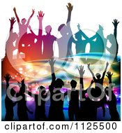 Clipart Of Silhouetted Dancers With Music Notes And Waves 1 Royalty Free Vector Illustration