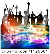Clipart Of Silhouetted Dancers With Music Notes And Waves 2 Royalty Free Vector Illustration