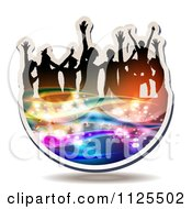 Clipart Of Silhouetted Dancers With Music Notes And Waves Icon 1 Royalty Free Vector Illustration by merlinul #COLLC1125502-0175
