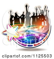 Clipart Of Silhouetted Dancers With Music Notes And Waves Icon 2 Royalty Free Vector Illustration by merlinul