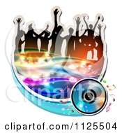 Clipart Of Silhouetted Dancers With Music Notes And Waves Icon 3 Royalty Free Vector Illustration by merlinul