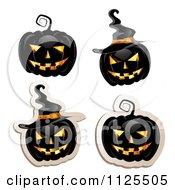 Black Halloween Jackolantern Pumpkins