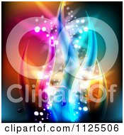 Clipart Of A Colorful Wave And Music Note Background 1 Royalty Free Vector Illustration