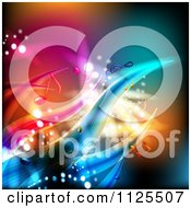 Clipart Of A Colorful Wave And Music Note Background 2 Royalty Free Vector Illustration