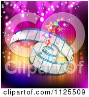 Clipart Of A Film Roll With Stars And Colorful Lights Royalty Free Vector Illustration