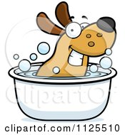 Cartoon Of A Happy Dog Soaking In A Tub Royalty Free Vector Clipart