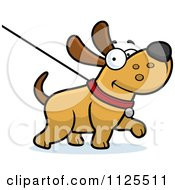 Cartoon Of A Happy Dog Being Washed On A Leash Royalty Free Vector Clipart