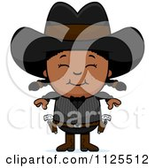 Cartoon Of A Happy Black Gunslinger Girl Royalty Free Vector Clipart by Cory Thoman