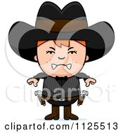 Cartoon Of An Angry Red Haired Gunslinger Boy Royalty Free Vector Clipart