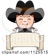 Cartoon Of A Happy Red Haired Gunslinger Boy Over A Banner Royalty Free Vector Clipart