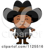 Cartoon Of A Happy Black Gunslinger Boy Royalty Free Vector Clipart by Cory Thoman