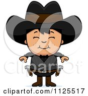 Cartoon Of A Happy Asian Gunslinger Boy Royalty Free Vector Clipart by Cory Thoman