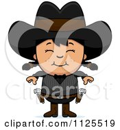 Cartoon Of A Happy Asian Gunslinger Girl Royalty Free Vector Clipart by Cory Thoman
