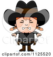 Cartoon Of An Angry Red Haired Gunslinger Girl Royalty Free Vector Clipart