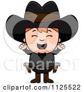 Cartoon Of A Happy Red Haired Gunslinger Boy Cheering Royalty Free Vector Clipart