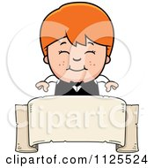 Cartoon Of A Happy Red Haired Waiter Boy Over A Banner Royalty Free Vector Clipart