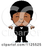 Cartoon Of A Happy Black Waiter Boy Royalty Free Vector Clipart