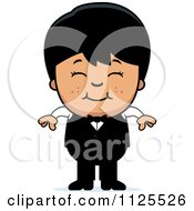 Cartoon Of A Happy Asian Waiter Boy Royalty Free Vector Clipart
