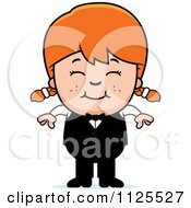 Cartoon Of A Happy Red Haired Waiter Girl Royalty Free Vector Clipart