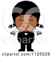 Cartoon Of A Happy Black Waiter Girl Royalty Free Vector Clipart