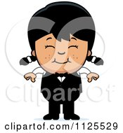 Cartoon Of A Happy Asian Waiter Girl Royalty Free Vector Clipart