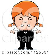 Cartoon Of An Angry Red Haired Waiter Girl Royalty Free Vector Clipart