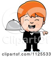 Cartoon Of A Happy Red Haired Waiter Boy Carrying A Platter Royalty Free Vector Clipart