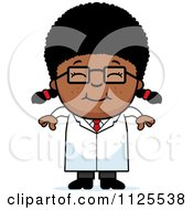 Cartoon Of A Happy Black Scientist Girl Royalty Free Vector Clipart by Cory Thoman