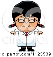 Cartoon Of A Happy Asian Scientist Girl Royalty Free Vector Clipart by Cory Thoman