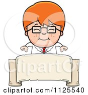 Cartoon Of A Happy Red Haired Scientist Boy Over A Banner Royalty Free Vector Clipart
