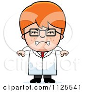 Cartoon Of An Angry Red Haired Scientist Boy Royalty Free Vector Clipart