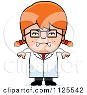 Cartoon Of An Angry Red Haired Scientist Girl Royalty Free Vector Clipart
