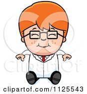 Cartoon Of A Happy Red Haired Scientist Boy Sitting Royalty Free Vector Clipart