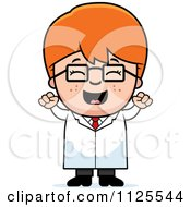 Cartoon Of A Happy Red Haired Scientist Boy Cheering Royalty Free Vector Clipart